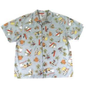 Disney Mens Large Mickey Mouse Hula Hawaiian Shirt
